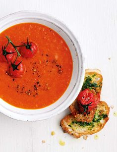 Roasted pepper and tomato soup - welcome back, soup season! http://sainsburysmagazine.co.uk/recipes/starters/soup/item/tomato-soup