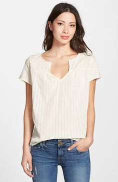 Lucky Brand Embroidered Yoke Top available at #Nordstrom
