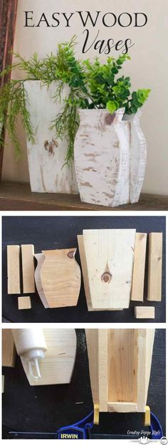 DIY wood vases made easily from scrap wood. Add a glass holder inside from fresh flowers | Country Design Style | countrydesignstyle.com #DIYvases