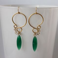 chandelier earrings with green onyx and by jpfAccessories on Etsy, $73.00