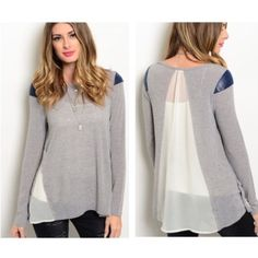 "✨LAST ONE✨Sheer Back Top Gorgeous grey long sleeve top that has navy blue accents on the shoulders and a beautiful sheer back! Brand new tags! 95% Rayon 5% Spandex •Length is 26""• No Damages • No Trades • No PayPal • Tops Tees - Long Sleeve"