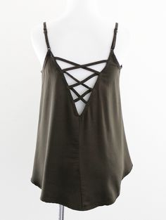 Tautmun - HOVD WOVEN CRISS CROSS CAMI - OLIVE, $16.99 (http://www.tautmun.com/hovd-woven-criss-cross-cami-olive/)