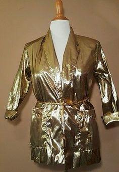 Womens Vintage Gold Foil Belted Shirt Top Blazer Germain Paris Size L Large 1970