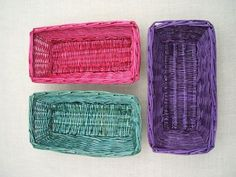 How to dye wicker baskets. This is a great idea for creating festive gift baskets. Buy inexpensive baskets from the Dollar Store or Michaels, dye them the recipient's favorite color, or holiday- or occasion-appropriate colors, create pretty basket liners (instructions included), fill with all kinds of goodies, and give, give, give!