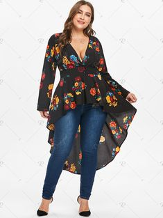 Plus Size Plunge High Low Floral Maxi Blouse blouses blouses blouses blouses outfit fall blouses fashion blouses casual and tops fashion plus size size clothing patterns size diy clothes size womens outfits size top - April 16 2019 at Plus Size Blouses, Plus Size Tops, Plus Size Dresses, Plus Size Outfits, Curvy Fashion, Look Fashion, Plus Size Fashion, Autumn Fashion, Mode Outfits