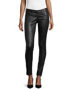 Sale Alert! Leatherette+Super-Skinny+Leggings,+Black+by+AG+at+Neiman+Marcus+Last+Call.