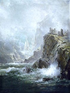 Title: The Ruins of Fast Castle, Berwickshire, Scotland, 1892 Artist: William Trost Richards Medium: Hand-Painted Art Reproduction