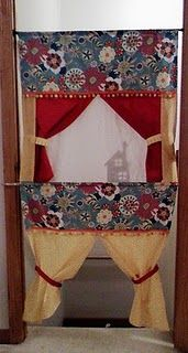 Doorway puppet theater- this one is so cool...can be used for regular puppets, shadow puppets or marionettes.