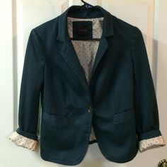 """Limited blazer The Limited soft ponte knit feeling hunter green blazer with adorable polka dot lining that can be shown if rolling cuffs or popped up collar. Outshell: 78% polyester, 18% viscose, 3% spandex. Lining: 100% polyester. 3/4 sleeves, single button front closure, 2 buttons on each cuff, 2 front pockets. Slimming seaming. Size S. Approx measurements flat: top of shoulder to hem in front 22"""", back 20"""", sleeves from seam of shoulder to cuff 20"""", armpit to armpit 17.5"""". NWOT, no flaws…"""