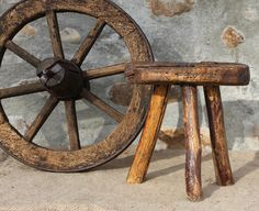 Vintage Farmhouse Milking Stool, Hand made Primitive chair , Antique French Old Benches, Old Chairs, Metal Chairs, Industrial Dining Chairs, Mid Century Dining Chairs, Vintage Farmhouse, Shabby Chic Stool, Milking Stool, Chair Leg Floor Protectors