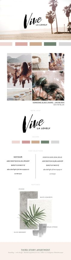 Branding by Lindsey Eryn of Third Story Apartment. _ Branding, Feminine Branding, Logo Inspiration, logo ideas for female entrepreneurs, fashion blogger logos, brand identity inspiration, brand board, feminine branding inspiration, graphic design inspiration, small business branding inspo, mauve color palette, desert color palette, leaf textures, stucco textures, concrete textures, design inspiration, #girlboss branding