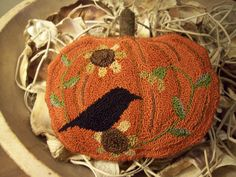 Primitive Punch Needle Hooked Rug Pumpkin Crow Sunflower Pillow Bowl Filler