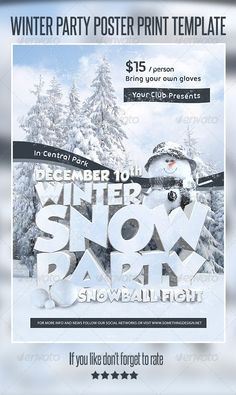 Winter Party Poster Print Template on Behance