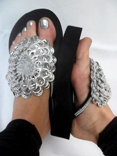 "Whoever said ""oh yea those are way cute you should totally wear those in public"" LIED! Soda tabs and horrible 90's platform flip flops?!?! Gag"