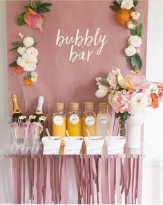 Bridal Mimosa Bar Bridal Shower Brunch with Free Printables! Nothing says celebration q. Alpi , Mimosa Bar Bridal Shower Brunch with Free Printables! Nothing says celebration q. [ Mimosa Bar Bridal Shower Brunch with Free Printables! Bubbly Bar, Bar Mimosa, Champagne Bar, Champagne Bottles, Bridal Shower Party, Bridal Shower Decorations, Wedding Decorations, Wedding Favors, Bridal Shower Sayings