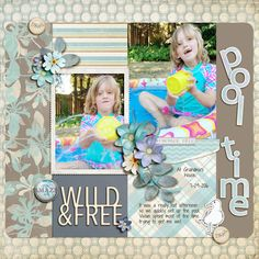 Pool Time - A digital scrapbook page by Diane.  The digital scrapbooking layout is made using digital scrapbooking kit(s) designed by Lynn Grieveson Designs, sold at The Lilypad: Late Summer, Duo 23 - Pecky Pack (digital template).