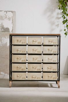 Industrial Storage Dresser | $329 at Urban Outfitters...perfect toy storage for James, especially with dividers inside the drawers for Legos.