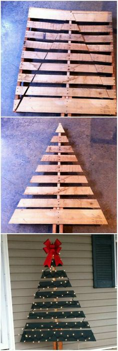 Awesome DIY Christmas Decorating Ideas and Tutorials Pallet Christmas Tree for the Front Porch Decoration.Pallet Christmas Tree for the Front Porch Decoration. Noel Christmas, Winter Christmas, Christmas Ornaments, Rustic Christmas, Christmas Outdoor Lights, Pallet Wood Christmas Tree, Christmas Skirt, Christmas Movies, Photo Christmas Tree