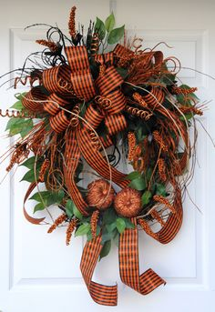 Halloween Wreath, Fall Wreath, Fall/Halloween Wreath, Black and Orange by HeatherKnollDesigns on Etsy https://www.etsy.com/listing/245100761/halloween-wreath-fall-wreath
