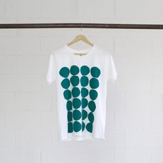 Emerald Tee - hand printed with water-based inks, manufactured using renewable solar & wind energy