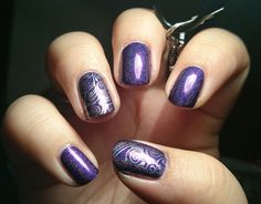 Purple plasma by ILNP, Pueen stampimg plate from the Encore collection, silver Metallic effect polish by Avon