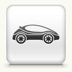 Square Button with Futuristic Car royalty free vector art vector art illustration