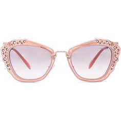 Miu Miu Embellished Cat Eye Sunglasses ($520) ❤ liked on Polyvore featuring accessories, eyewear, sunglasses, glasses, cat-eye glasses, acetate sunglasses, miu miu eyewear, matte lens sunglasses and metallic sunglasses