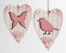Wooden Hearts Hangers - would look nice in a shadow box Wood Crafts, Diy And Crafts, Paper Crafts, Decoupage, Craft Projects, Projects To Try, Country Paintings, I Love Heart, Heart Crafts