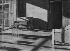 """Clara Lieu, Student Artwork, RISD Foundation Studies, Freshman Drawing course, Interior Architectural Space Defined by Light Assignment, charcoal, 36"""" x 48"""", 2014"""
