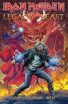 The Heavy Metal booth at SDCC will be showing off the cover to the Iron Maiden: Legacy of the Beast Trade Paperback ahead of its release in October. Heavy Metal Rock, Heavy Metal Music, Heavy Metal Bands, Bruce Dickinson, Iron Maiden Band, Eddie Iron Maiden, Woodstock, Hard Rock, Iron Maiden Albums