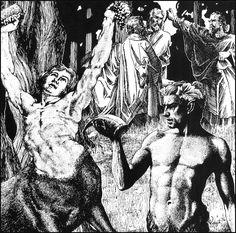 Virgil Finlay, Druidic Doom by Robert Bloch, Weird Tales 36-04.
