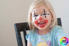 24 of the best facepaint ideas, including some simpler ideas for DIY mums Cheetah Face Paint, Clown Face Paint, Kids Makeup, Clown Makeup, Slapstick Humor, Clown Faces, How To Get, Good Things, Amor