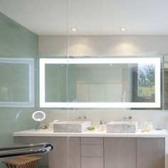 Check out these bathroom vanity and storage ideas for dual sinks, makeup vanities, bathroom furniture and more. Floating Bathroom Vanities, Bathroom Vanity Storage, Bathroom Mirror Lights, Mirror With Led Lights, Floating Vanity, Bathroom Ideas, Mirror Glass, Led Furniture, Bathroom Furniture