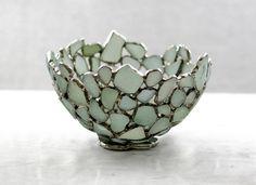 Sea Glass Bowl  Seafoam English Beach Glass by SaraLeGrisCreations