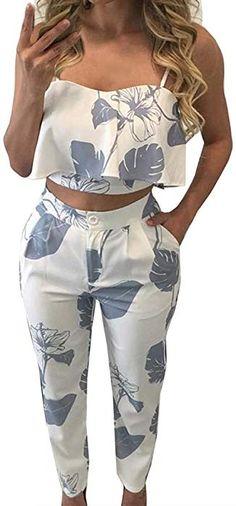 9e4564ac393 Amazon.com  FANCYINN Women 2 Pieces Jumpsuit Romper Spaghetti Strap Top +  Long Pants