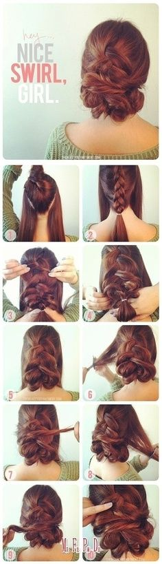 DIY Nice Girl Swirl diy diy ideas easy diy diy beauty diy hair diy fashion beauty diy diy bun diy style diy hair style diy updo