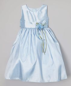 Loving this Baby Blue Satin Dress - Infant, Toddler & Girls on #zulily! #zulilyfinds