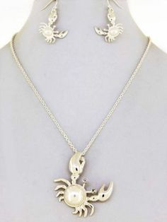 Chunky Pearl Crab Charm Silver Necklace Earring Set Fashion Costume Jewelry | eBay