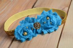 Vintage Blue and Gold Shabby Chic Headband, Baby Headband, Flower Headband, Newborn Headband, Baby Headband, Photo Prop, Toddler Headband