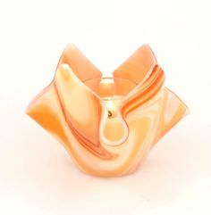 Orange Fused Glass Candle Holder by Nostalgianmore, $35.00 #Fun and #funky!