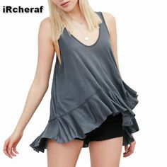 iRicheraf Womens Sleeveless Vest Ladies Fashion Plus Size T-shirt Irregular Bottom Edge Solid Grey Color Casual Hot Tees Tops