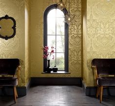 Desire Mustard/Gold is a damsk wallpaper that exudes sophistication. It's ornate design creates a feeling of grandeur and opulance. $99 per/roll from Wall Candy Wallpaper or head to www.wallcandywallpaper.com.au