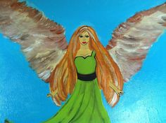 Copper Angel Acrylic on Canvas by JustPeachyLifeGifts on Etsy, $40.00