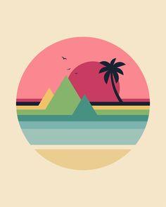 Tropical Sunset Art Print by andywestface Art And Illustration, Graphic Design Illustration, Design Illustrations, Posca Art, Small Canvas Art, Sunset Art, Surf Art, Geometric Art, Pattern Art
