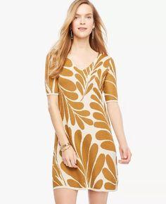 Nwt Ann Taylor Shimmer Leaf Petal V-Neck Sweater Dress $129.00 Multi
