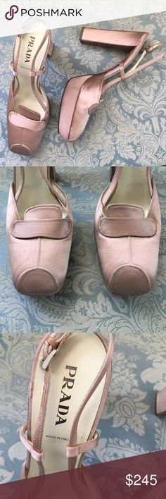 Vintage Prada Heels Chunky heel, champagne pink color, needs to be cleaned. Some wear and tear! Great to add to your collection of shoes, very classic shape, but fun color for your wardrobe. Sz 39, which is a US 9. I'm a true 8 and they fit directly! So keep that in mind. If more pictures are needed please ask! Prada Shoes