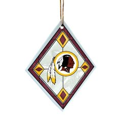 NFL Washington Redskins Art Glass Ornament by The Memory Company. $9.99. Licensed sport ornament. team colors and team logo. Diamond Shaped Art Glass Ornament Featuring Teams Colors and Logo