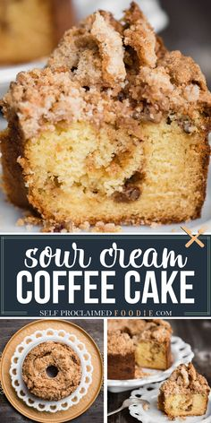 Sour Cream Coffee Cake, with a sweet and crunchy streusel topping and a cinnamon sugar layer in the middle, is the most delicious coffee cake recipe you'll find! This is the perfect sweet treat to make for entertaining or to bring to a breakfast get together with friends. The inside of the coffee cake is super moist! #coffeecake #sourcream #topping #streusel #best #moist #swirl Homemade Cake Recipes, Brownie Recipes, Baking Recipes, Cookie Recipes, Dessert Recipes, Brunch Recipes, Fun Recipes, Tart Recipes, Popular Recipes