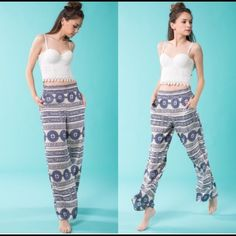 """Palazzo  Pants Super cute palazzo pants Quality made fits true to size Side pocket detail with elastic waist. 100% Polyester SM inseam is 29"""" Med inseam is 30"""" Lrg inseam is 31"""" April Spirit Pants Wide Leg"""
