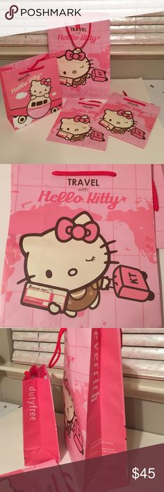 Set of 4 Hello Kitty pink gift bags 1 large & 3 m Set of four hello Kitty pink gift bags. One large and three medium. Medium size is 10 x 11 inches. large size is 12 x 17 Inches. I got these when I travel to Taipei international airport. If you love hello kitty use EVA airlines.  Check out my closet, we have a lot of Victoria Secret, Bath and Body Works, handbags, Aerosoles, shoes, fashion jewelry, women's clothing, Beauty products, home decors & more... We offer bundle discounts. And don't…